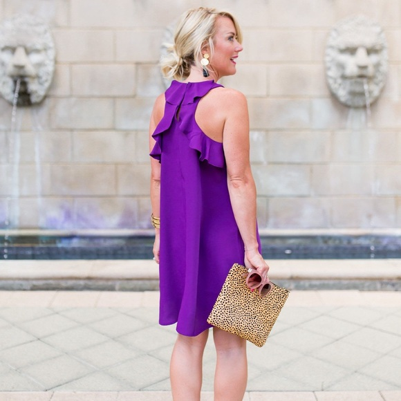 LOFT Dresses & Skirts - LOFT Purple Ruffle Swing Back Dress